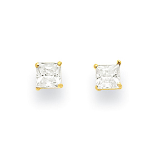Lex & Lu 14k Yellow Gold 3mm Square CZ Post Earrings-Lex & Lu