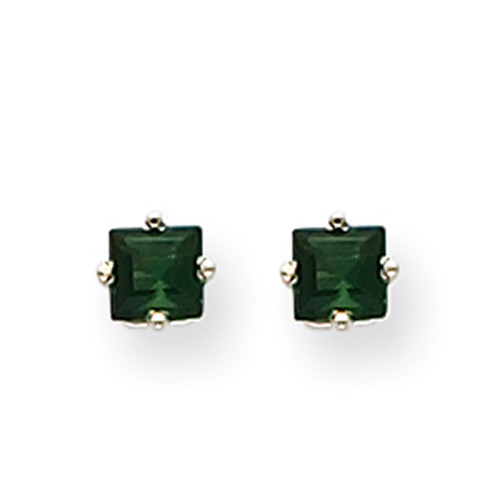 Lex & Lu 14k White Gold Green Tourmaline Earrings LAL85447-Lex & Lu