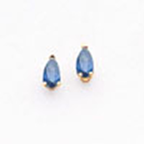 Lex & Lu 14k Yellow Gold Sapphire Post Earrings LAL85499-Lex & Lu