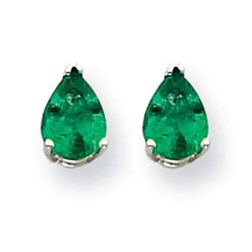 Lex & Lu 14k White Gold Emerald Earrings LAL85524-Lex & Lu