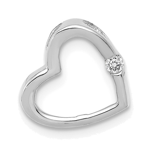 Lex & Lu 14k White Gold AA Diamond Heart Chain Slide-Lex & Lu