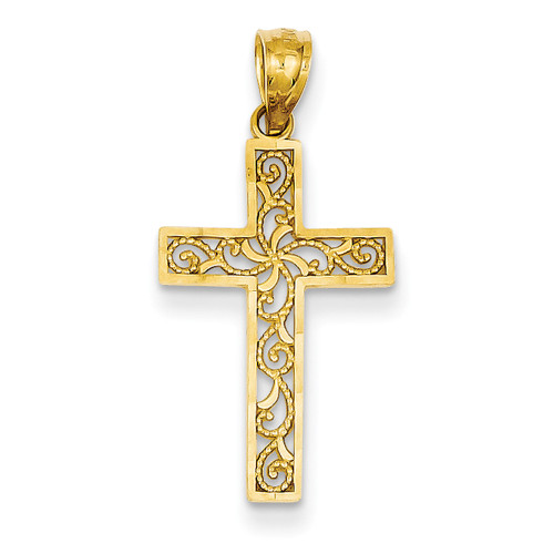 Lex & Lu 14k Yellow Gold Cross Pendant LAL88989-Lex & Lu