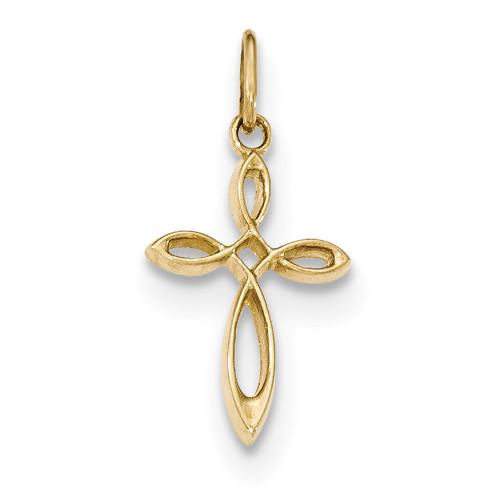 Lex & Lu 14k Yellow Gold Polished Small Ribbon Cross Pendant LAL89262-Lex & Lu