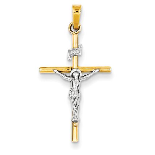 Lex & Lu 14k Two-tone Gold INRI Crucifix Pendant LAL89358-Lex & Lu