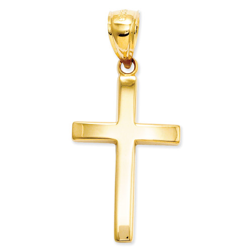 Lex & Lu 14k Yellow Gold Polished Cross Charm LAL89494-Lex & Lu