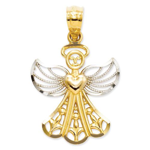 Lex & Lu 14k Yellow Gold & Rhodium Filigree Angel Pendant LAL89625-Lex & Lu