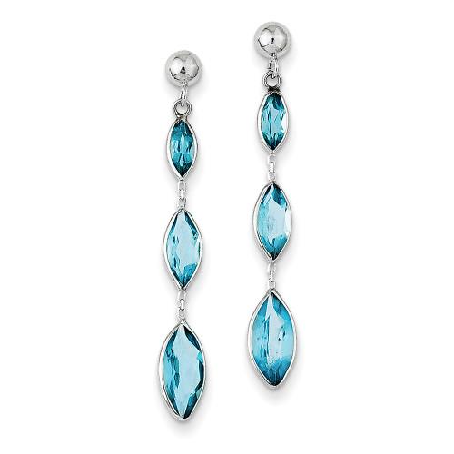 Lex & Lu 14k White Gold Blue Topaz Post Earrings LAL91641-Lex & Lu