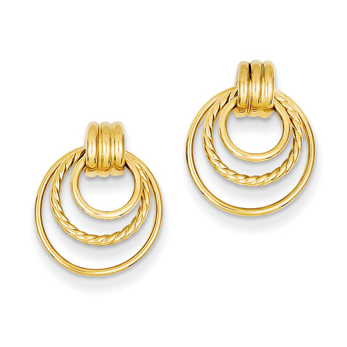 Lex & Lu 14k Yellow Gold Polished & Twisted Fancy Post Earrings LAL91904-Lex & Lu