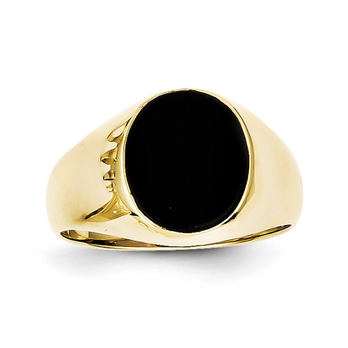 Lex & Lu 10k Yellow Gold Onyx Men's Ring-Lex & Lu