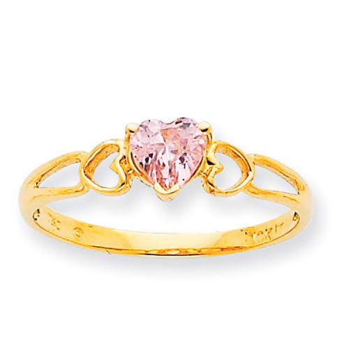 Lex & Lu 10k Yellow Gold Geniune Pink Tourmaline Birthstone Ring 10XBR1 LAL96740-Lex & Lu