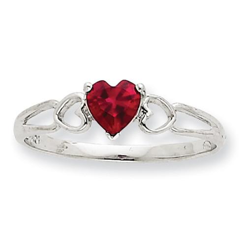Lex & Lu 10k White Gold Polished Geniune Ruby Birthstone Ring 10XBR1 LAL96749-Lex & Lu