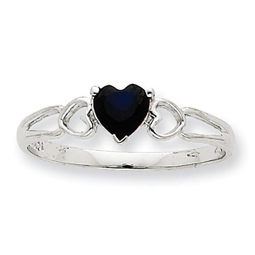 Lex & Lu 10k White Gold Geniune Sapphire Birthstone Ring 10XBR1 LAL96751-Lex & Lu