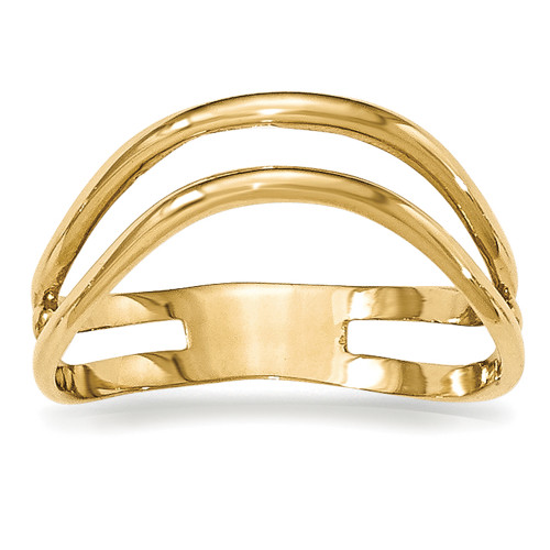 Lex & Lu 14k Yellow Gold Polished Double Wave Fashion Thumb Ring-Lex & Lu