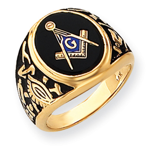 Lex & Lu 14k Yellow Gold Men's Masonic Ring LAL98941-Lex & Lu