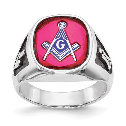 Lex & Lu 14k White Gold Men's Synthetic Ruby Masonic Ring LAL98949 - Lex & Lu
