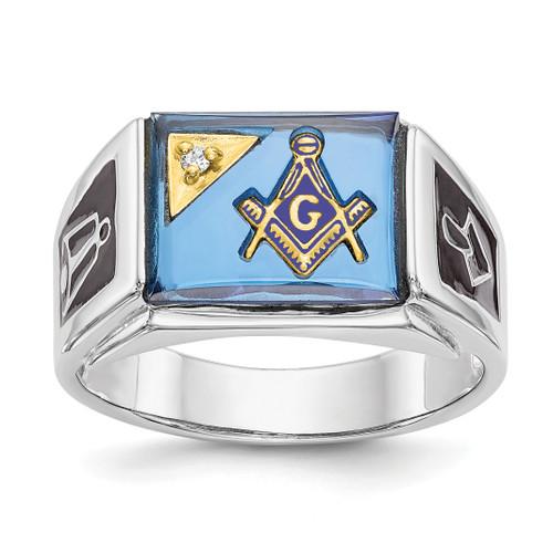 Lex & Lu 14k White Gold AA Diamond Men's Masonic Ring Y4111MA - Lex & Lu