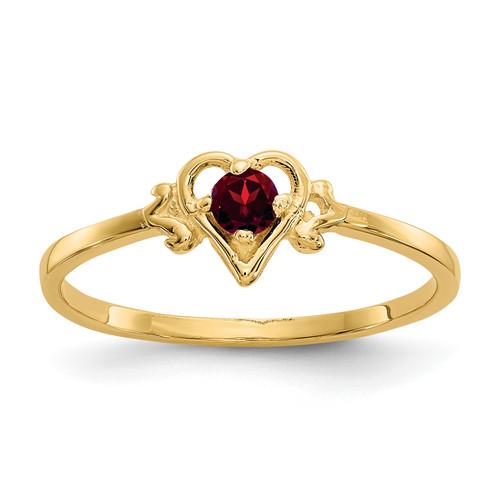 Lex & Lu 14k Yellow Gold Garnet Birthstone Heart Ring - Lex & Lu