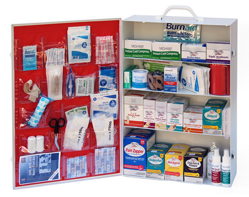 4 Shelf First Aid Cabinet, Filled