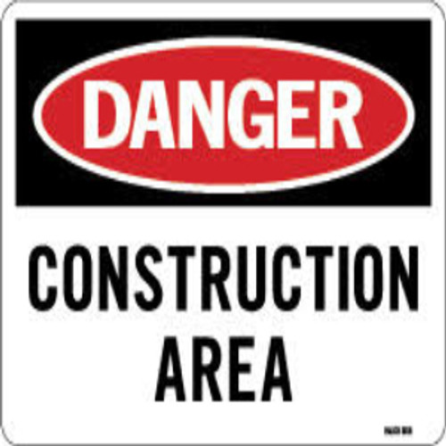 Danger Construction Area | Rigid Plastic, 10x14