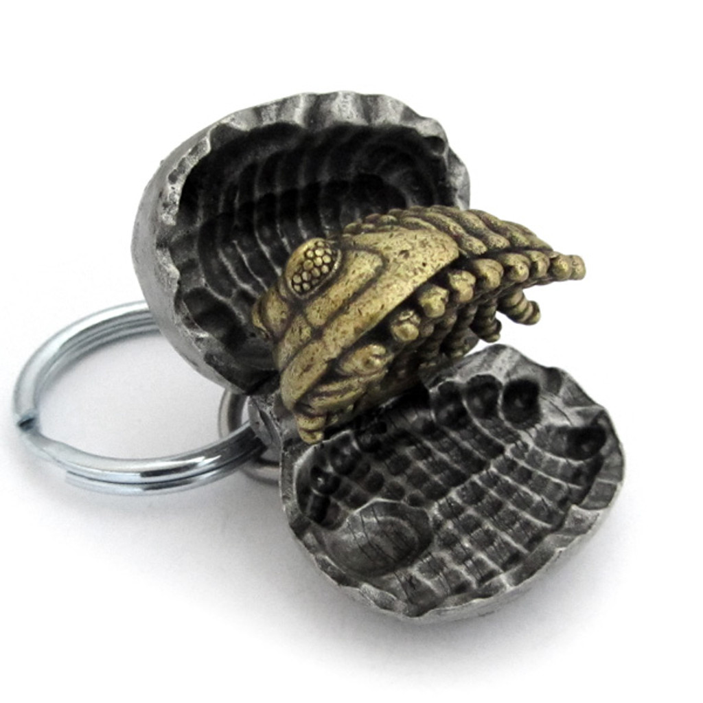 trilobite nodule keychain partially opened