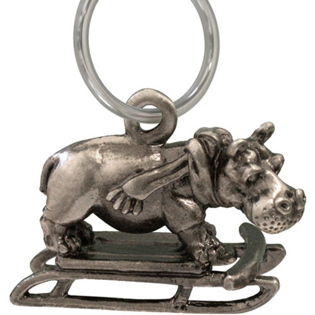 Holiday Hippopotamus Keychain