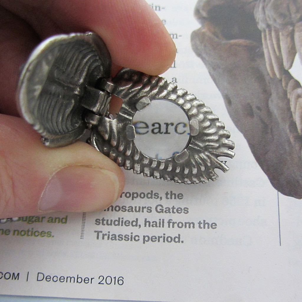 trilobite pendant with built-in magnifying glass