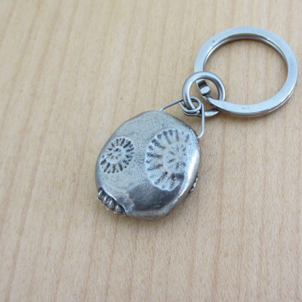ammonite concretion keychain