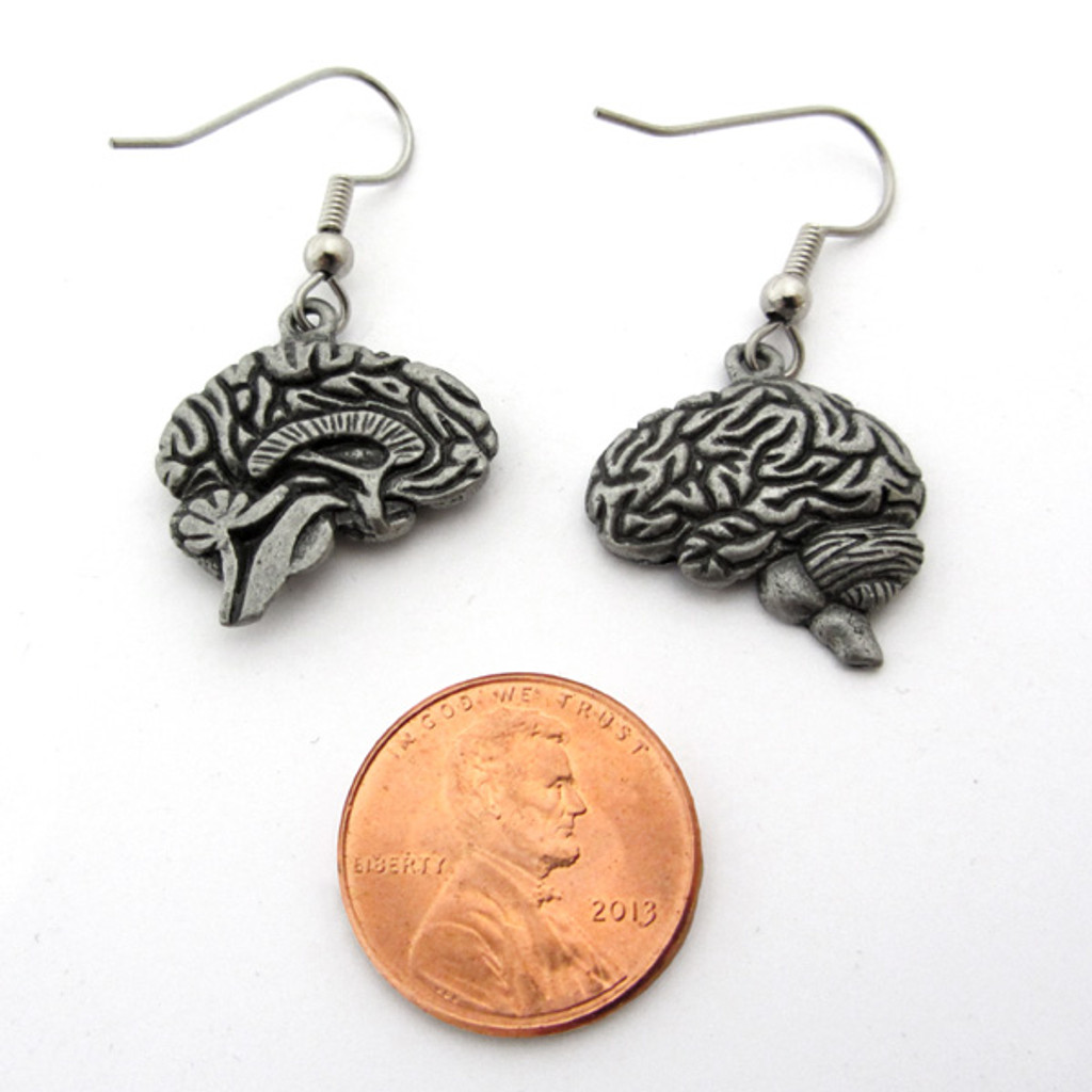 human brain earrings