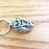 pewter tyrannosaurus skull keychain