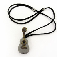 Acoustic Guitar Locket with adjustable necklace cord
