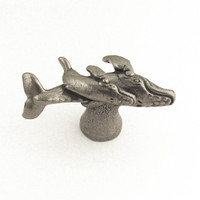 humpback whale and calf drawer pull