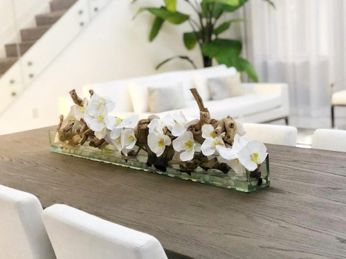 """48"""" Casa Moderna Glass Plate Planter with white orchids"""