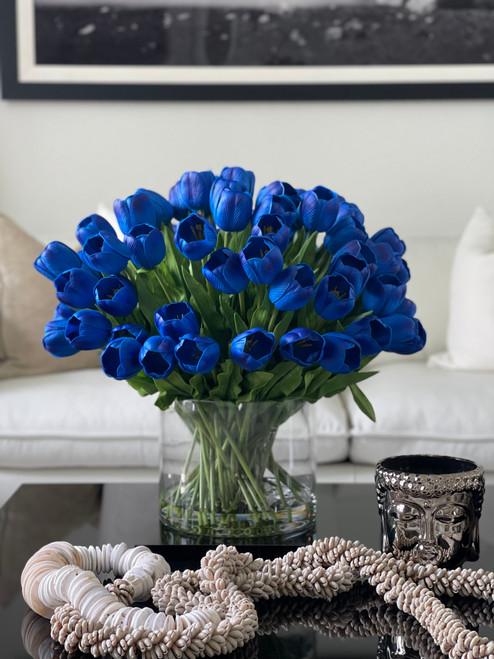 Blue tulip watergarden on oversized rota cylinder