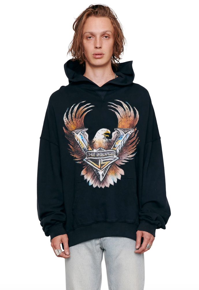 The People Vs Metalic Eagle Vintage Hoodie - Ultra Black