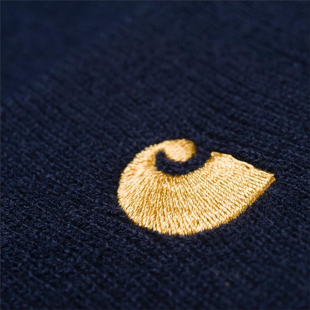 Carhartt WIP Chase Beanie - Dark Navy/Gold