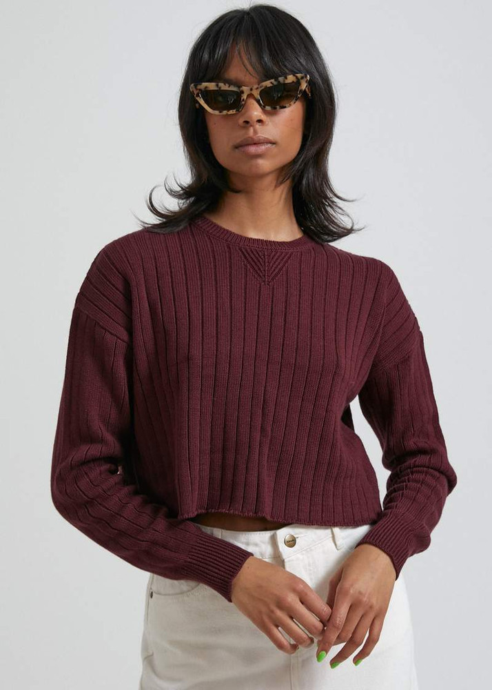 Afends Downtown Organic Knit Crew - Wine