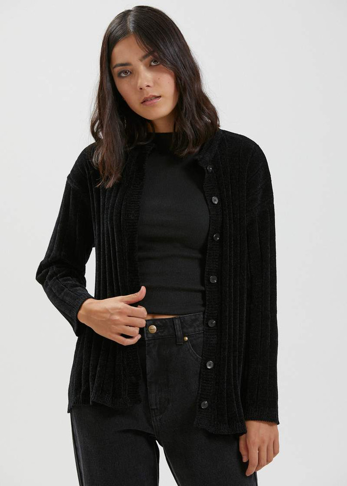 Afends Corey Recycled Knit Cardigan - Black