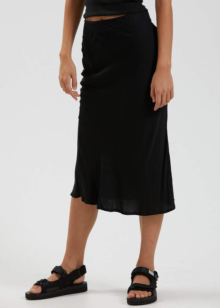 Afends Janey Recycled Midi Skirt - Black