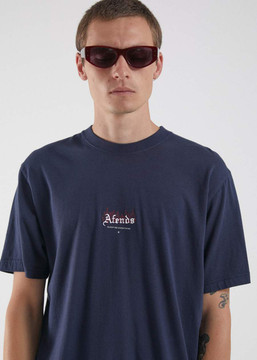 Afends Welcome Retro Fit Tee - Deep Water