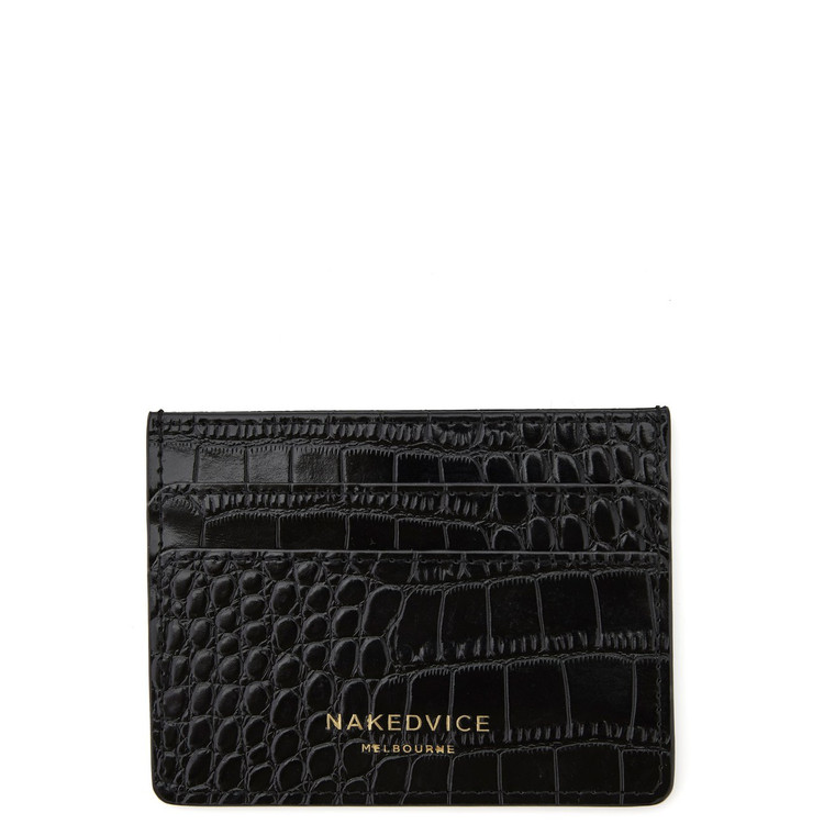 Nakedvice Lola Croc Card Holder - Black/Gold