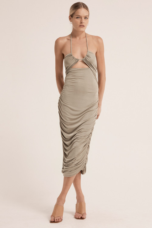 Third Form Lead On Halter Midi Dress - Putty