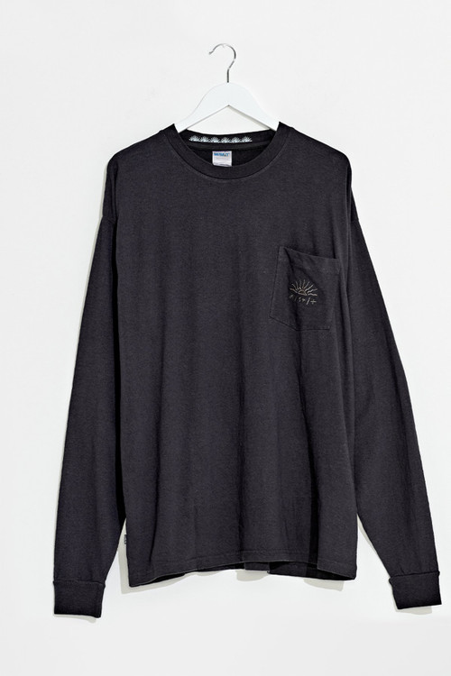 M/SF/T Blues Flower LS Tee - Pigment Washed Black
