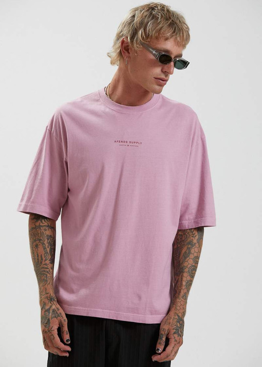 Afends Supply Recycled Oversized T-Shirt - Smokey Pink