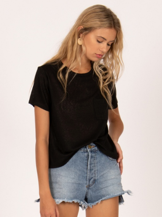 Amuse Society On The Run Knit Tee- Black