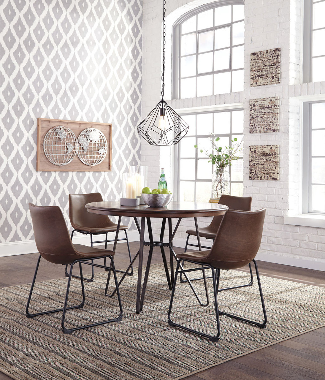 The Centiar Two Tone Brown 5 Pc Round Dining Set Available At Home