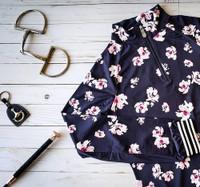 Kastel Denmark UV Shirt -Navy Floral with Blush and Stripes