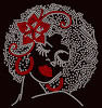 Red Flower Lady Afro girl Rhinestone Transfer