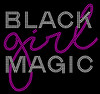 (Text) Black Girl Magic ( fushia ) Rhinestone transfer