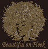 Beautiful on Fleek Golden Afro Girl custom Rhinestone Transfer BESTSELLER