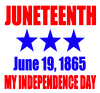 (30 qty) JuneTeenth (3 star) June 19, 1865 My Independence Day (2 colors) Vinyl Transfer
